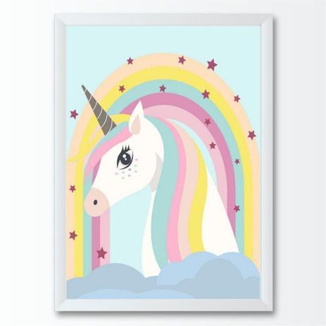 Quadro Infantil Bebe Desenho Unicornio Colorido Conspecto