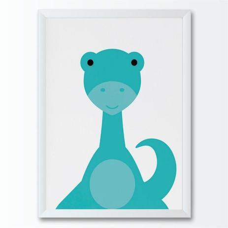Quadro Infantil Desenho Dinossauro Azul Dino Bebe Conspecto