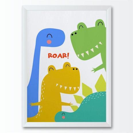Quadro Infantil Desenho Dinossauros Coloridos Conspecto Quadro