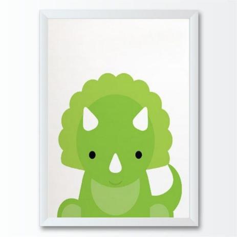 Quadro Infantil Desenho Filhote Dinossauro Verde Dino Bebe