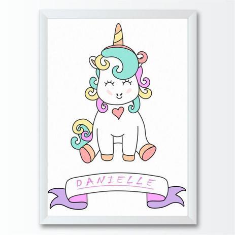 Quadro Infantil Desenho Unicornio Colorido Conspecto Quadro