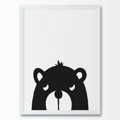 Quadro Infantil Desenho Urso Floresta Preto E Branco Conspecto
