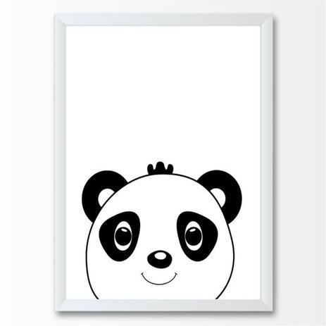 Quadro Infantil Panda Desenho Preto E Branco Conspecto Quadro