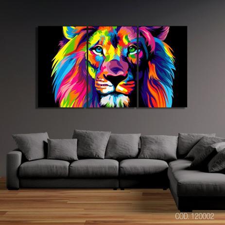 Imagem de Quadro Leão Juda Colorido Mosaico 3 Peças 120x65cm