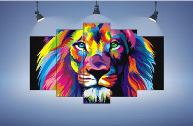 Imagem de Quadro Leão Mosaico 5 Peças Leão Moderno Colorido Leão 3d