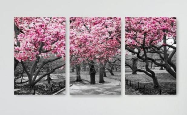 Imagem de Quadro Mosaico 3 Peças Árvore/cerejeira Rosa/paisagem