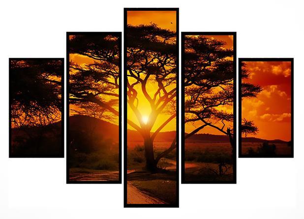 Imagem de Quadro Mosaico 5 Partes Árvore Pôr Do Sol Moldura Preta Art e Cia