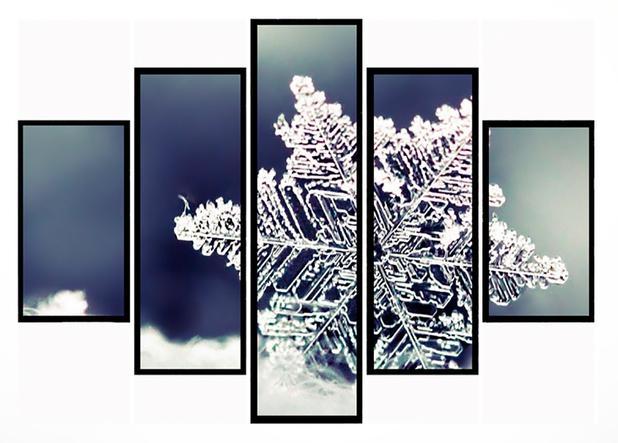 Imagem de Quadro Mosaico 5 Partes Floco de Neve Moldura Preta Art e Cia