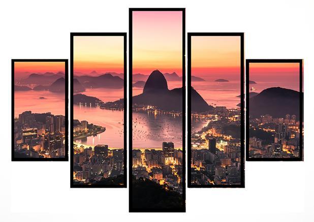 Imagem de Quadro Mosaico 5 Partes Rio de Janeiro Pão De Açúcar Moldura Preta Art e Cia