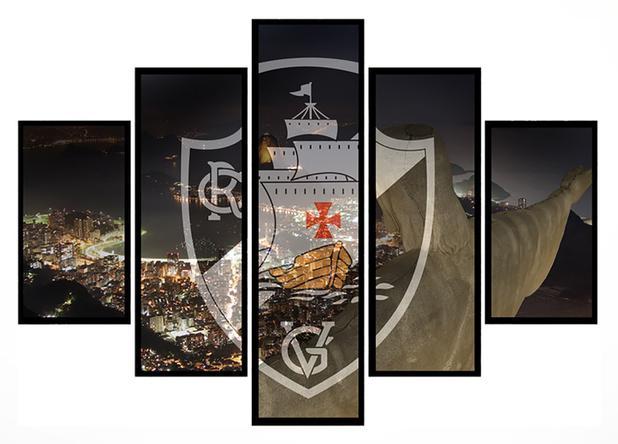 Imagem de Quadro Mosaico 5 Partes Vasco com Cidade Moldura Preta Art e Cia