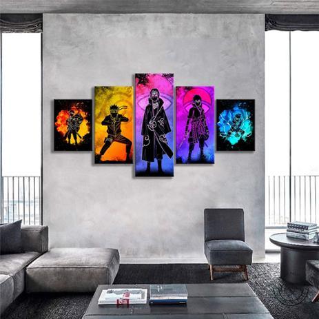 Imagem de Quadro Mosaico 5 peças alma de personagens Naruto Painel Decorativo Decoração de Interiores