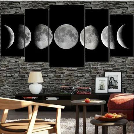 Imagem de Quadro mosaico 5 peças fases da lua abstrato moderno painel para decoração de ambientes