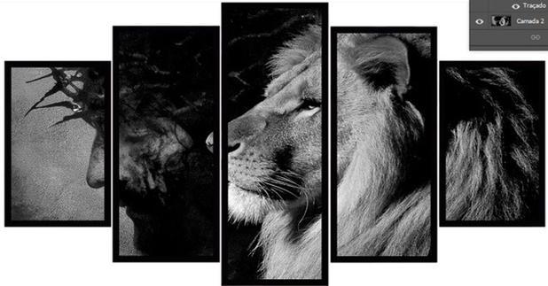 Imagem de Quadro mosaico 5 peças leão de judá preto e branco 2 abstrato moderno painel