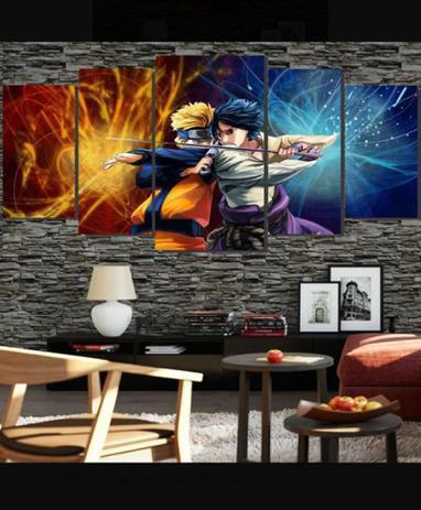 Imagem de Quadro mosaico 5 peças naruto laranja azul abstrato moderno painel para decoração de ambientes