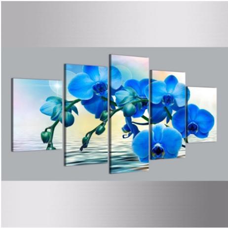 Imagem de Quadro mosaico 5 peças orquidea azul abstrato moderno painel para decoração de ambientes