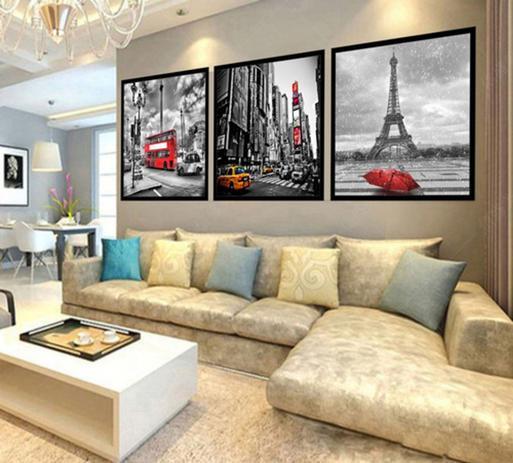 Imagem de Quadro Mosaico Decorativo Paris, Londres, New York 120x60