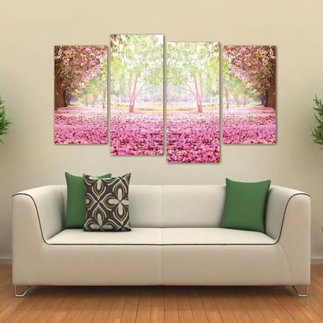 Quadro Paisagem Flores Rosas Sala Mosaico Em Tecido 4 Peças Wall Frame Quadro Decorativo Magazine Luiza