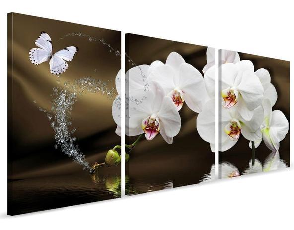 Imagem de Quadro Sala Decorativo 120x60 Flores Orquídea Branca Mosaico
