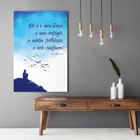 Imagem de Quadro Salmo 91 Religioso Decorativo Frase Para Sala Quarto Tela Grande 120x80