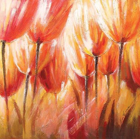 18643ea77 Quadro Tela Decorativa Floral Pintura Abstrata 60x60cm - Decore pronto