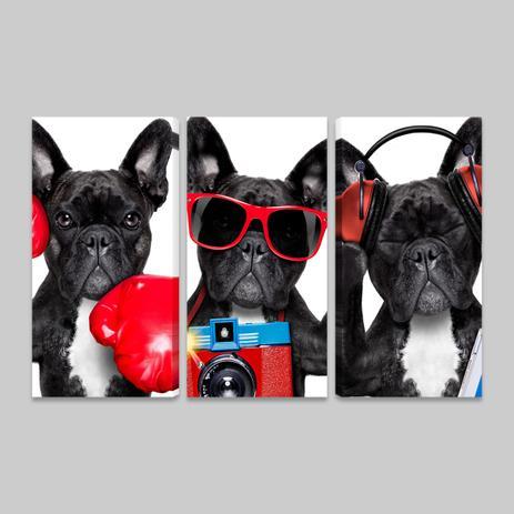 3fe35c84f6a Quadros Bulldog Francês Decorativos Sala Quarto 3 Telas PQ - Bimper ...