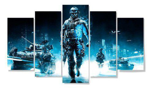 Imagem de Quadros decorativos 5 peças jogos play 4 game soldados