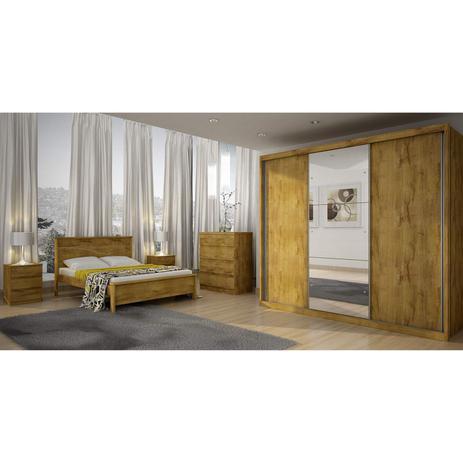 Imagem de Quarto Casal Completo com Cômoda, Guarda Roupa com Espelho, 2 Criados Mudos e Cama Siena Móveis Freijó Dourado
