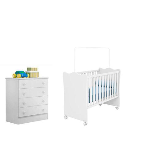 Imagem de Quarto De Bebê Com Berço Simples e Cômoda 4 Gavetas Doce Sonho Branco - Qmovi