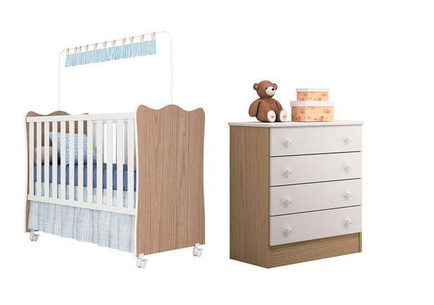 Imagem de Quarto De Bebê Com Berço Simples e Cômoda 4 Gavetas Doce Sonho Carvalho - Qmovi