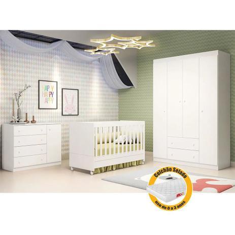 Imagem de Quarto de Bebê  com Guarda Roupa 4 Portas + Cômoda Ana Helena + Berço Mini Cama - EM Moveis Branco