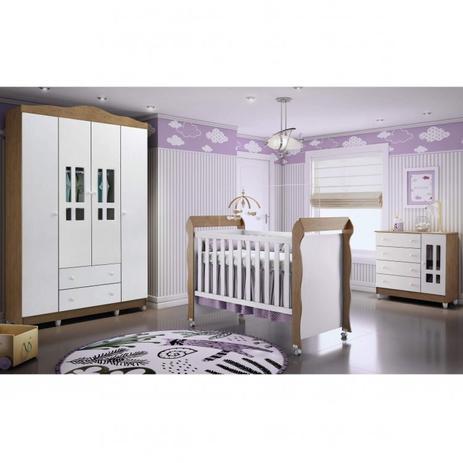 Imagem de Quarto de Bebê com Guarda Roupas 4 Portas, Cômoda Fraldário e Berço Mini Cama Ariel Mirelle Espresso Móveis Branco/Amadeirado