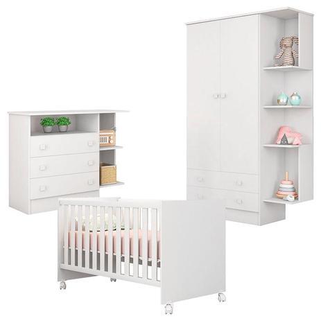 9eb389ecef Quarto de Bebê Doce Sonho 2 Portas Cômoda com Nicho e Berço Americano 100  Branco Brilho - Qmovi