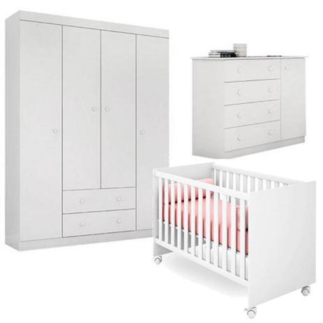 Imagem de Quarto de Bebê Helena Com Guarda Roupa + Cômoda + Berço - EM Móveis