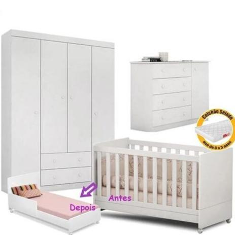 Imagem de Quarto De Bebê Helena Guarda Roupa 4 Portas + Cômoda + Berço