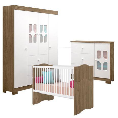 Imagem de Quarto de Bebê New Cristal 4 Portas com Berço Alegria Branco Brilho Wengue  Canaã
