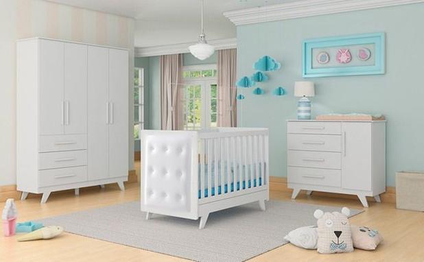 Imagem de Quarto de Bebê Retrô com Guarda Roupa Infantil 4 Portas, Cômoda Infantil 4 Gavetas e Berço Mini Cama com Capitonê Móveis Peroba