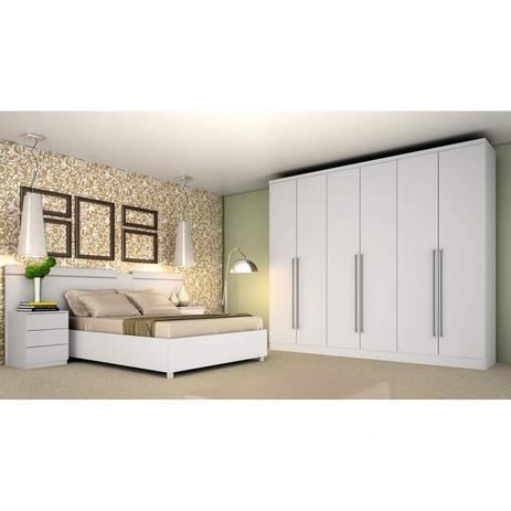 Imagem de Quarto de Casal Completo com Guarda Roupa, Cabeceira e Cama Box Premium Siena Móveis Neve