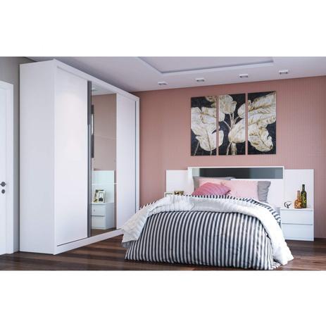 Imagem de Quarto de Casal Completo MadeiraMadeira com Guarda Roupa 3 Portas 6 Gavetas e Cabeceira com 2 Criados Mudos 400774 Branco