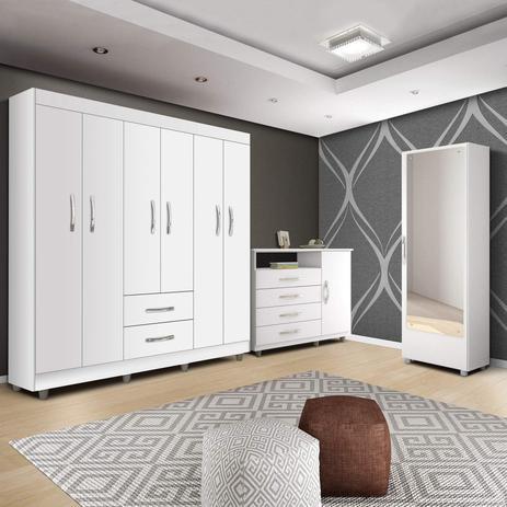Imagem de Quarto de Casal Completo MadeiraMadeira com Sapateira, Cômoda e Guarda Roupa 6 Portas 424188 Branco