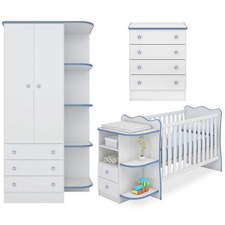 Imagem de Quarto Infantil 03 Peças Doce Sonho 758X777X825 Branco Azul Qmovi