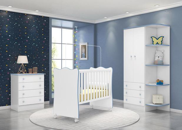 Imagem de Quarto Infantil com Guarda Roupa 2 Portas 3 Gavetas com Cantoneira, Berço e Cômoda Doce Sonho Branco e Azul - Qmovi