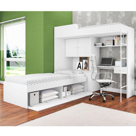 0da033c05d Quarto Juvenil 2 Camas Solteiro Armário 2 Portas Escrivaninha  Multifuncional Branco - Art In Móveis