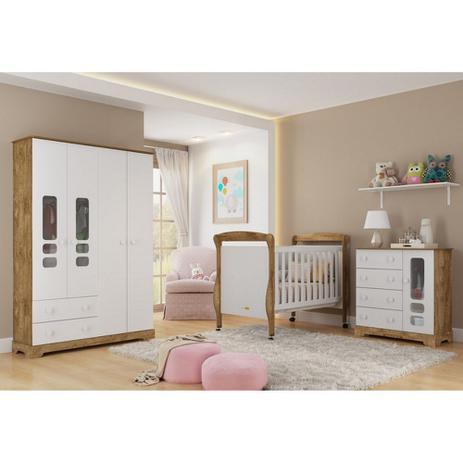 Imagem de Quarto para Bebê com Guarda Roupas 4 Portas + Cômoda + Berço Mini Cama Smart Matic