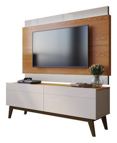 Imagem de Rack com Painel Classic 2G 1.4 com LED Freijó com Off White - Imcal Móveis