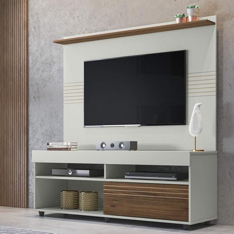 Imagem de Rack com Painel Para TV 60 Polegadas Samba 1.4 Yescasa Off White/Nogueira