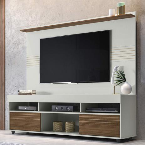 Imagem de Rack com Painel Para TV 60 Polegadas Samba 1.6 Yescasa Off White/Nogueira