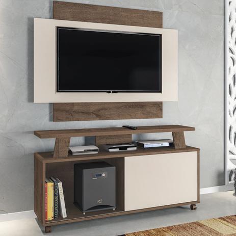 Imagem de Rack Com Painel Para Tv Até 50 Polegadas Rivera 1 Porta Mocaccino Rústico/3d Natura Off White