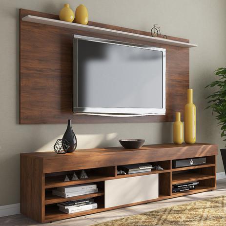 Imagem de Rack com Painel para TV Até 55 Polegadas 1 Porta Jhon Seda/Off White - Viero Móveis