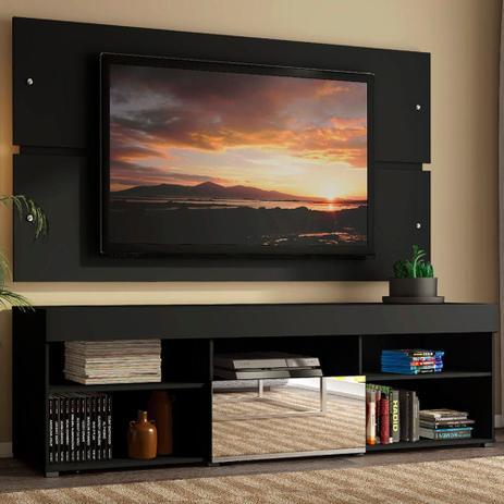 Imagem de Rack com Painel para TV até 65 Polegadas Madesa Dublin 1 Porta com Espelho - Preto