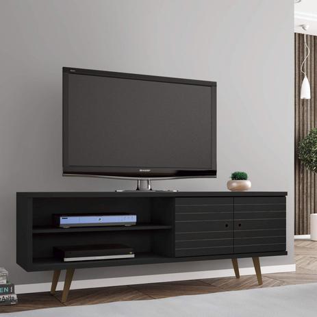 Imagem de Rack para TV até 60 Polegadas 2 Portas Retrô Ônix Móveis Bechara Preto Fosco
